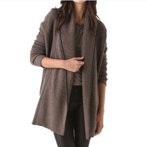 Vinc. Wool Cashmere Alpaca Leather Trim Car Coat